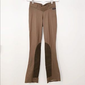 KERRITS Riding Pants Dark Tan W/Faux Leather Patch